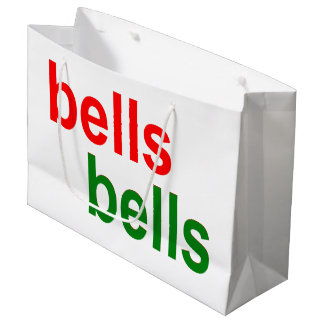 Red and Green Bells Bells Christmas Word Phrase Large Gift Bag