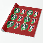 Red and Green Boston Terrier Christmas Gift Wrap