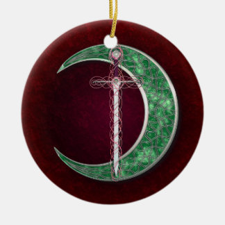 Red And Green Celtic Moon Christmas Ornament