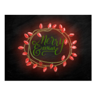 Red and Green Chalk Drawn Merry and Bright Holiday Postcard