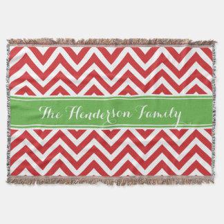 Red and Green Chevron Family Monogram Throw Blanket