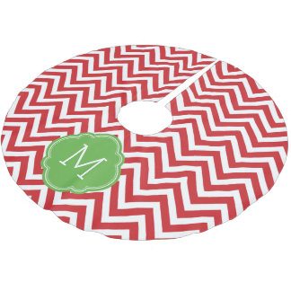 Red and Green Chevron Monogram Brushed Polyester Tree Skirt