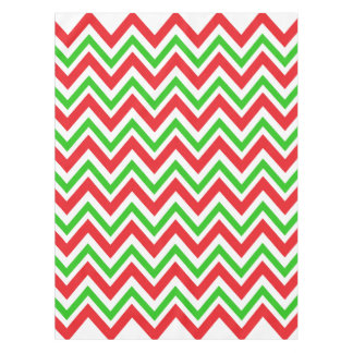Red and Green Chevron Pattern Christmas Tablecloth