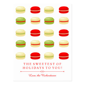 Red and Green Christmas French Macarons on White Postcard