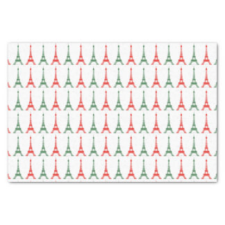 Red and Green Christmas French Theme Eiffel Towers Tissue Paper