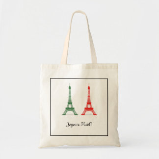 Red and Green Christmas French Theme Eiffel Towers Tote Bags