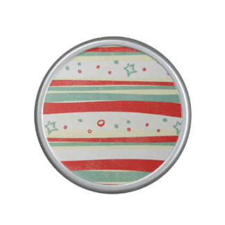 Red and Green Christmas Holiday Stripes Bluetooth Speaker