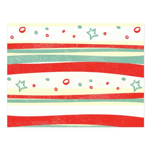 Red and Green Christmas Holiday Stripes Postcard