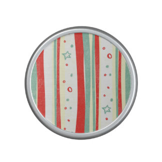 Red and Green Christmas Holiday Vertical Stripes Bluetooth Speaker