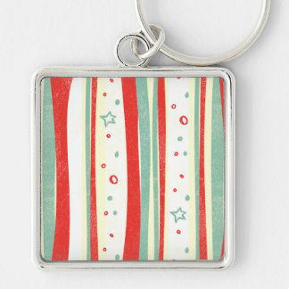 Red and Green Christmas Holiday Vertical Stripes Key Chains