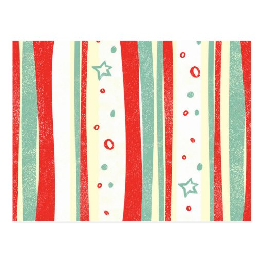 Red and Green Christmas Holiday Vertical Stripes Post Card