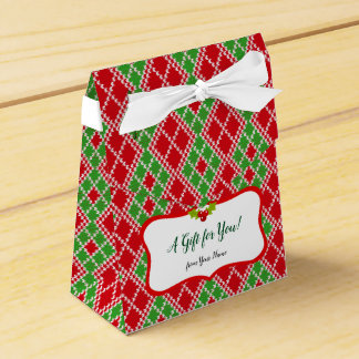 Red and Green Christmas Knit Pattern Favour Box