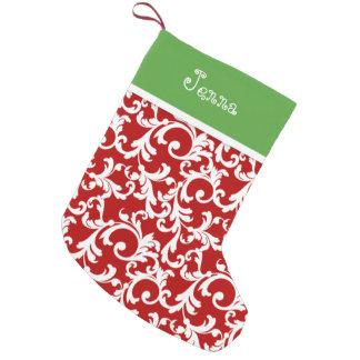 Red and Green Christmas Monogram Damask Print Small Christmas Stocking