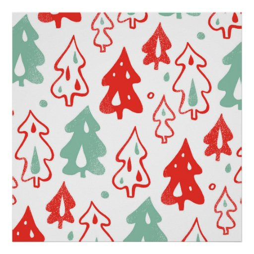 Red and Green Christmas Pine Trees Pattern Print