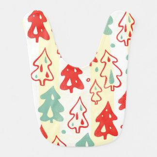 Red and Green Christmas Pine Trees Stripe Pattern Bib