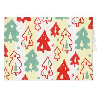 Red and Green Christmas Pine Trees Stripe Pattern Greeting Card