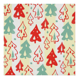 Red and Green Christmas Pine Trees Stripe Pattern Print