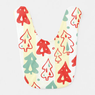 Red and Green Christmas Pine Trees Stripe Pattern Bibs