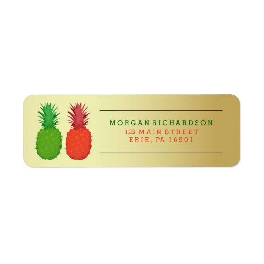 Red and Green Christmas Pineapples on Gold Return Address Label