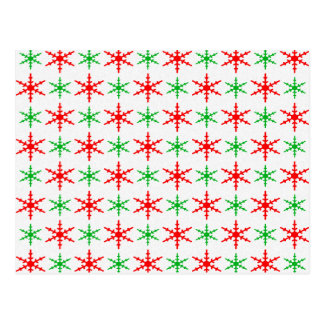 Red and green christmas snowflakes postcard