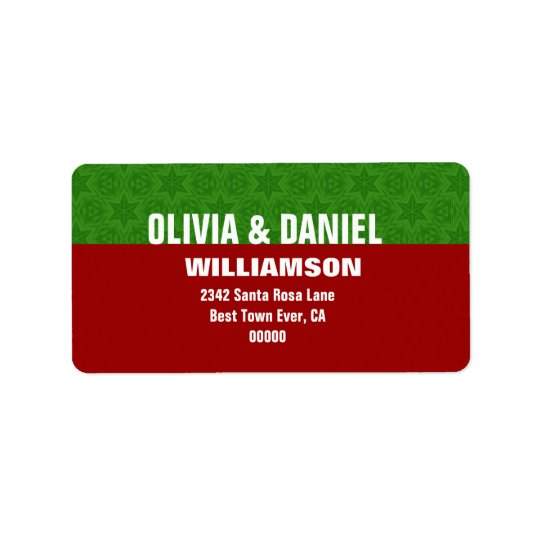 Red and Green Christmas Stars Modern Simple G103 Label