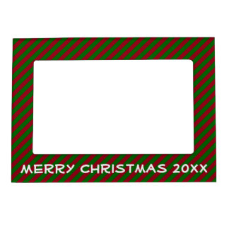 Red and Green Christmas Stripe Personalized Magnetic Picture Frame