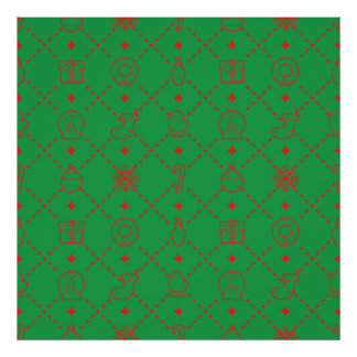 Red and Green Christmas Symbols Seamless Pattern Poster