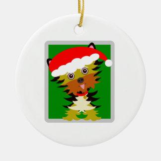 Red and Green Christmas  Yorkie Christmas Ornament