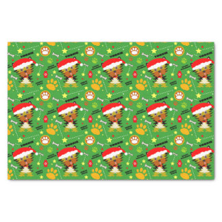 Red and Green Christmas Yorkie Santa Hat Tissue Paper