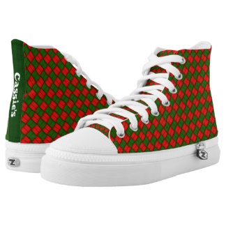 Red And Green Custom Christmas Pattern High Tops