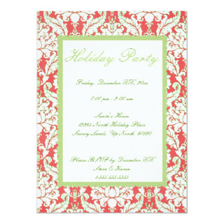 Red and Green Damask Holiday Party Invite