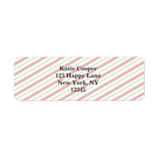 Red And Green Diagonal Striped Christmas Pattern Return Address Label