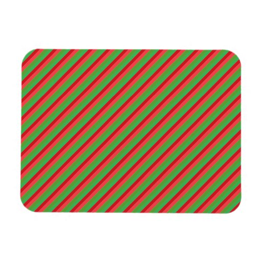Red and Green Diagonal Stripes Rectangle Magnet