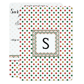 Red And Green Dot Pattern With Initial Card