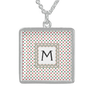 Red And Green Dot Pattern With Initial Sterling Silver Necklace