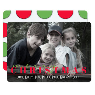 Red and green dots Double Sided Photo Card