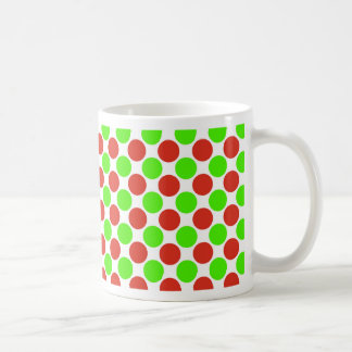 Red and Green Dots on White Basic White Mug