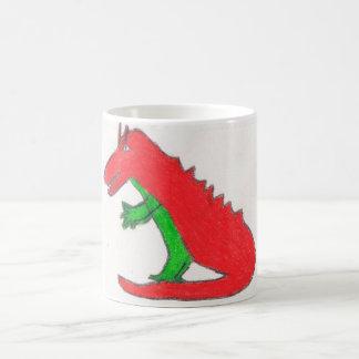 Red and green dragon mug