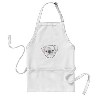 red and green eyed pug adult apron
