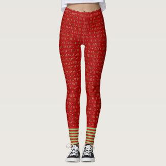 Red and Green Fa La La with Stripes Leggings