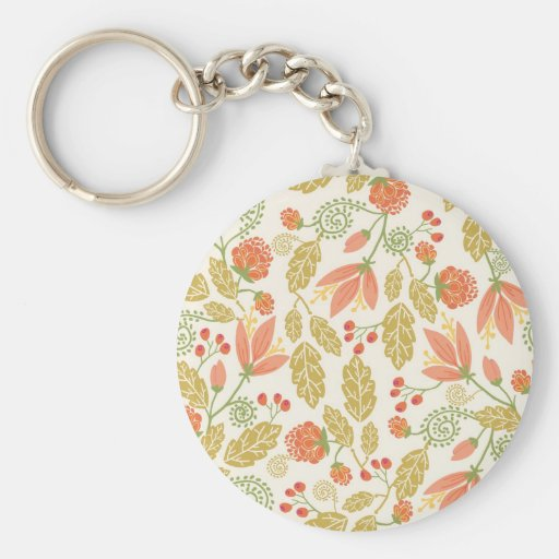 Red and green fall garden pattern keychain