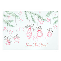 Red and Green Festive Ornaments Save The Date 9 Cm X 13 Cm Invitation Card
