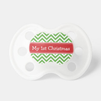 Red and Green First Christmas Holiday Chevron Baby Pacifier