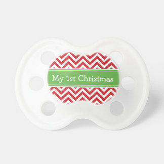 Red and Green First Christmas Holiday Chevron Dummy