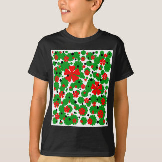 Red and green floral desing T-Shirt