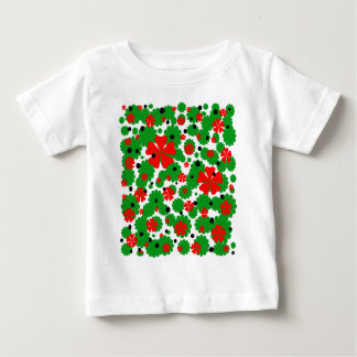 Red and green floral desing tees