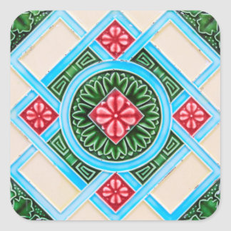 Red And Green Floral Ornamental Tile Square Sticker
