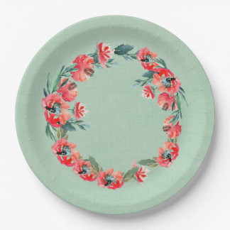 Red and Green Floral Watercolor Wreath Botanical 9 Inch Paper Plate