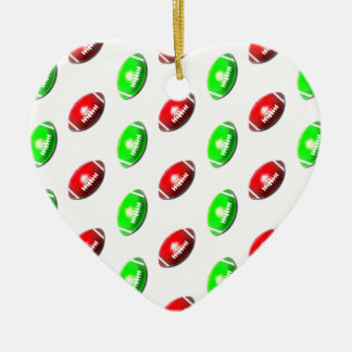 Red and Green Football Pattern Christmas Ornament