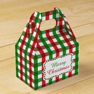 Red and Green Gingham Pattern Christmas Favour Box